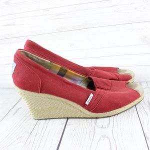 Tom's Red Peep Toe Wedge Shoes 9